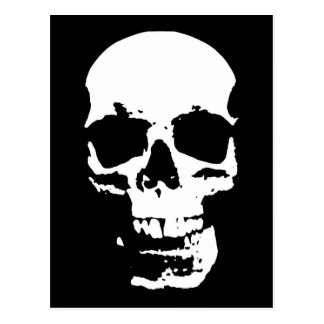 Black & White Pop Art Skull Stylish Cool Postcard