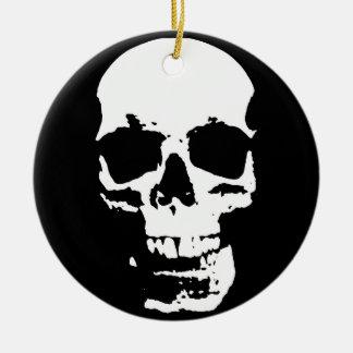 Black & White Pop Art Skull Stylish Cool Round Ceramic Ornament