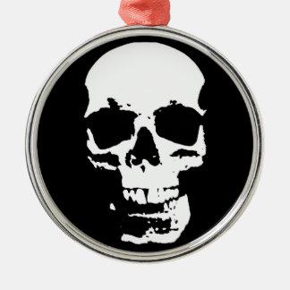 Black & White Pop Art Skull Stylish Cool Silver-Colored Round Ornament