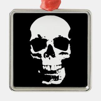 Black & White Pop Art Skull Stylish Cool Silver-Colored Square Ornament