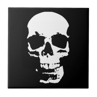 Black & White Pop Art Skull Stylish Cool Tile