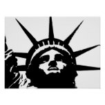 Black & White Pop Art Statue of Liberty Poster
