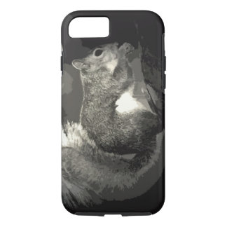 Black White Pop Art Style Squirrel Eating Nuts iPhone 7 Case