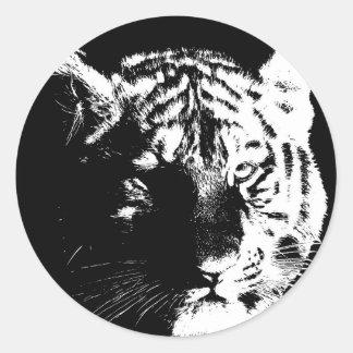 Black & White Pop Art Tiger Classic Round Sticker