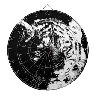 Black & White Pop Art Tiger Dartboard