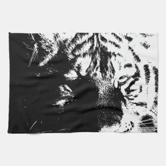 Black & White Pop Art Tiger Kitchen Towel