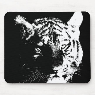Black & White Pop Art Tiger Mouse Pad