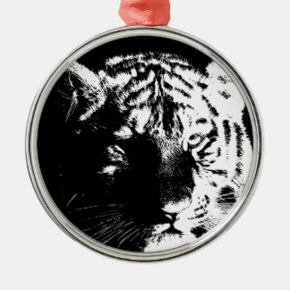 Black & White Pop Art Tiger Silver-Colored Round Ornament