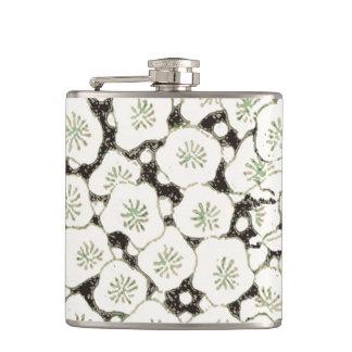 Black White Print Art Floral  Asian Japanese Hip Flask