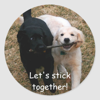 "Black & white puppies ""stick together"" stickers"