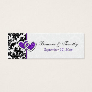 Black, White, Purple Damask Hearts Favor Tag Mini Business Card