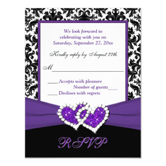Black, White, Purple Damask & Hearts Reply Card