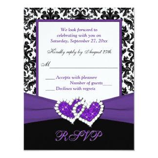 "Black, White, Purple Damask & Hearts Reply Card 4.25"" X 5.5"" Invitation Card"