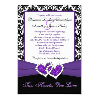 Black White Purple Damask Hearts Wedding Invite