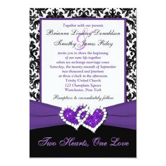 """Black White Purple Damask Hearts Wedding Invite 5"""" X 7"""" Invitation Card"""