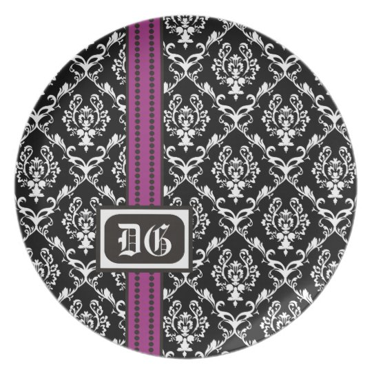 Black white purple damask pattern & initials plate
