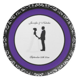 Black, White & Purple Damask Wedding Plate