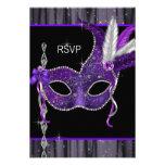 Black White Purple Masquerade Party RSVP