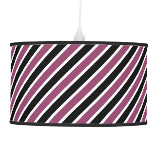 Black, White, Purple Stripes Pendant Lamp