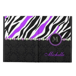 Black, white, purple zebra damask monogrammed cover for iPad air