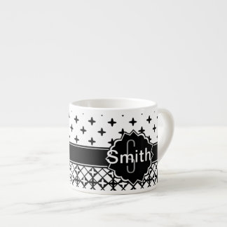 Black White Qua-trefoil Monogrammed Espresso Cup