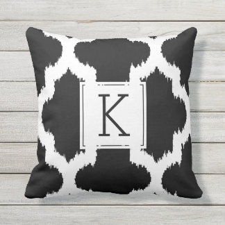 Black & White Quatrefoil Ikat Style Throw Pillow