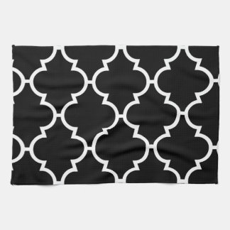 Black White Quatrefoil Pattern Kitchen Towel