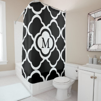 Black & White Quatrefoil Personalizable Monogram