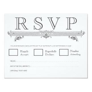 "Black & White Quatrefoil Wedding RSVP Cards 4.25"" X 5.5"" Invitation Card"