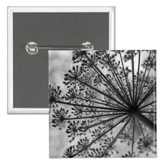 Black & White Queen Anne's Lace 2 Inch Square Button
