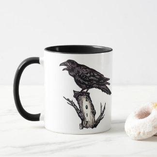 Black & White Raven Mug Halloween Personalize Date
