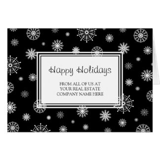 Black White Real Estate Happy Holidays Card