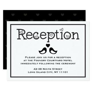 "Black  & White Reception Lovebirds Hearts Wedding 3.5"" X 5"" Invitation Card"
