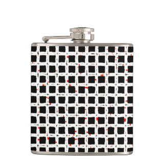 Black White Red Abstract Pattern Hip Flask