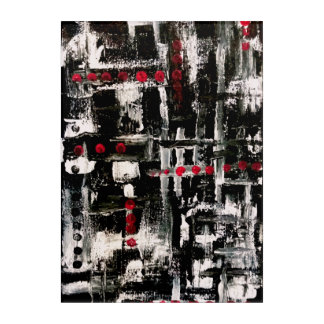 black, white, red acrylic wall art