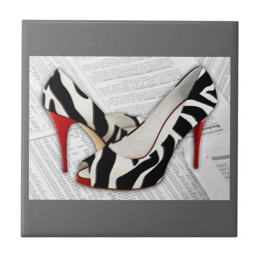 Black & White & Red All Over Tiles
