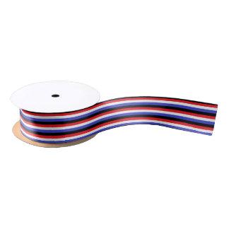 Black, White, Red and Blue Stripes Satin Ribbon