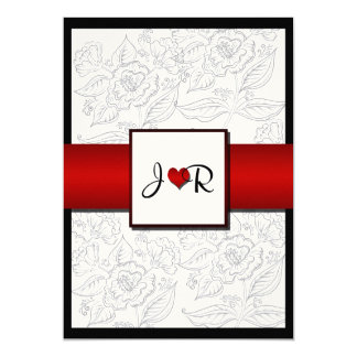 "Black White Red Bohemian Posh Wedding Invitation 5"" X 7"" Invitation Card"