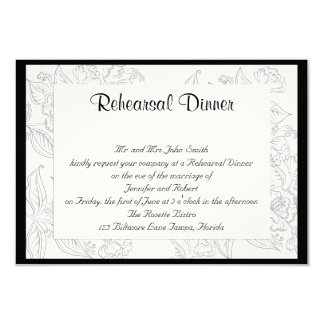 "Black White Red Bohemian Posh Wedding Rehearsal 3.5"" X 5"" Invitation Card"