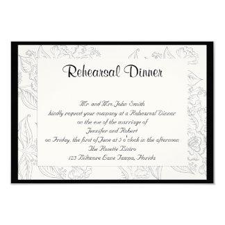 Black White Red Bohemian Posh Wedding Rehearsal Card