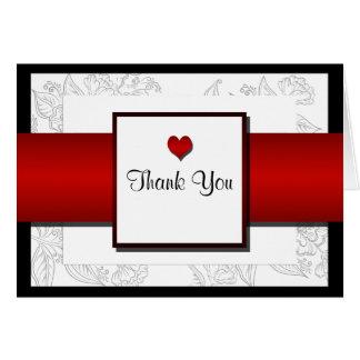 Black White Red Bohemian Posh Wedding Thank You Note Card