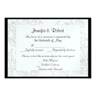 Black White Red Bohemian Wedding Response Card