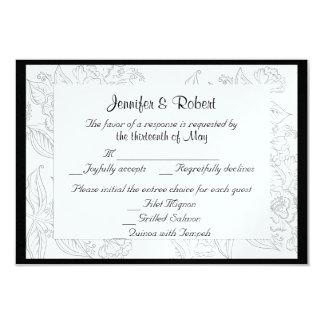 "Black White Red Bohemian Wedding Response Card 3.5"" X 5"" Invitation Card"