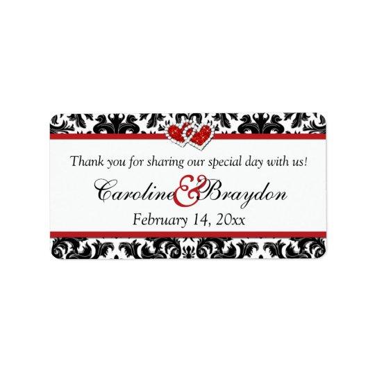 Black White Red Damask, Hearts Wedding Favour Label
