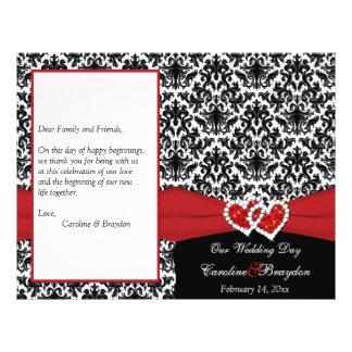 Black White Red Damask, Hearts Wedding Program Custom Flyer