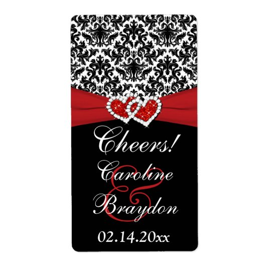Black White Red Damask Hearts Wine Label Shipping Label