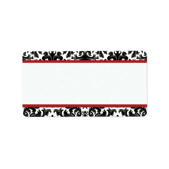 Black White Red Damask Print-At-Home Label