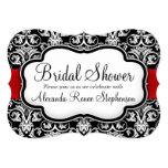 "Black/White/Red Damask Round Bridal Shower 5"" X 7"" Invitation Card"