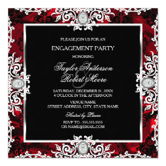 "Black White Red Diamond Damask Engagement Party 5.25"" Square Invitation Card"