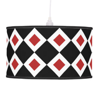 Black, White, Red Diamond Pattern Pendant Lamp